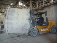 Section of �A� Kiln being removed from the drying plant by Andrew, the 98 Gang Supervisor on the new looking forklift purchased for this task and others.