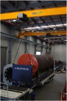 """And the new Kiln sections manufactured by Consep in Sydney ready for shipping to Nauru.  -  One half of the new """"A"""" Kiln loaded for shipping."""