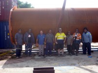 Fern XCMG Crane, Andrew  Supervisior Jim Ceo, Blackie Fork Lift, Anthony Prod Manager, Alwyn Fitter, Caasi Welder, Erro Welder.