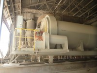 The new B Kiln Combustion Chamber with the primary Dust Cyclones in the rear rail mounted for ease of refractory repairs.